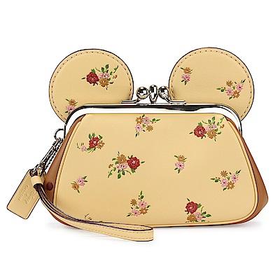 COACH MINNIE米妮耳朵造型蝴蝶結吊飾花花皮革珠扣大手拿包-黃 @ Y!購物