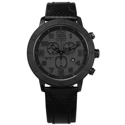 CITIZEN 光動能 三眼計時日期 礦石強化玻璃 防水100米 真皮手錶-黑色/46mm