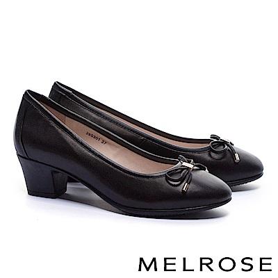 高跟鞋 MELROSE 經典復古素雅蝴蝶結全真皮高跟鞋-黑