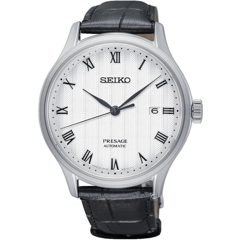 SEIKO Presage 沉穩時尚機械腕錶(SRPC83J1)白/41mm