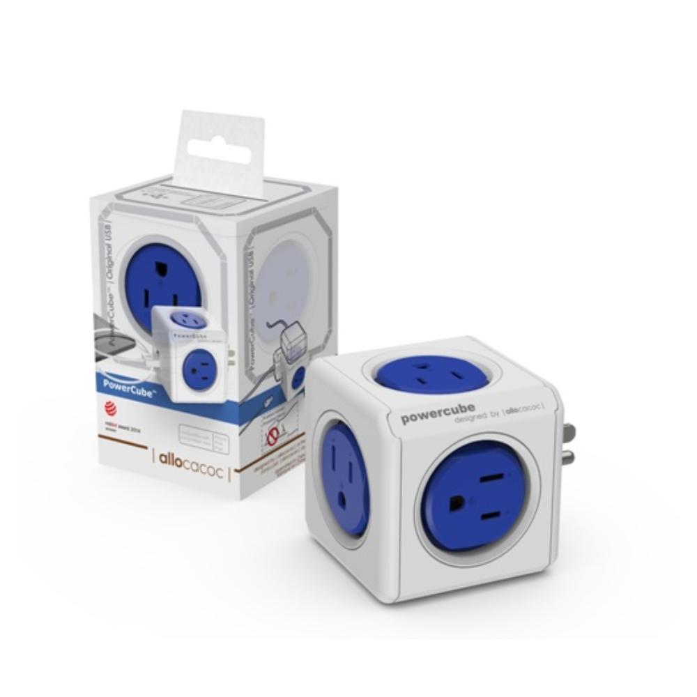 3入-【PowerCube】2.1A雙USB擴充插座 4面插座、2埠USB(藍)