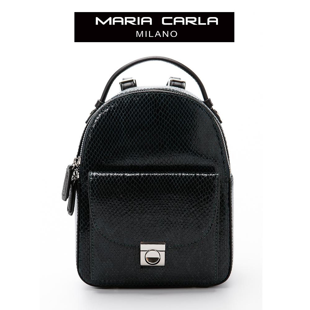 Maria Carla 後背包  牛皮個性蛇紋小包系列(深綠)