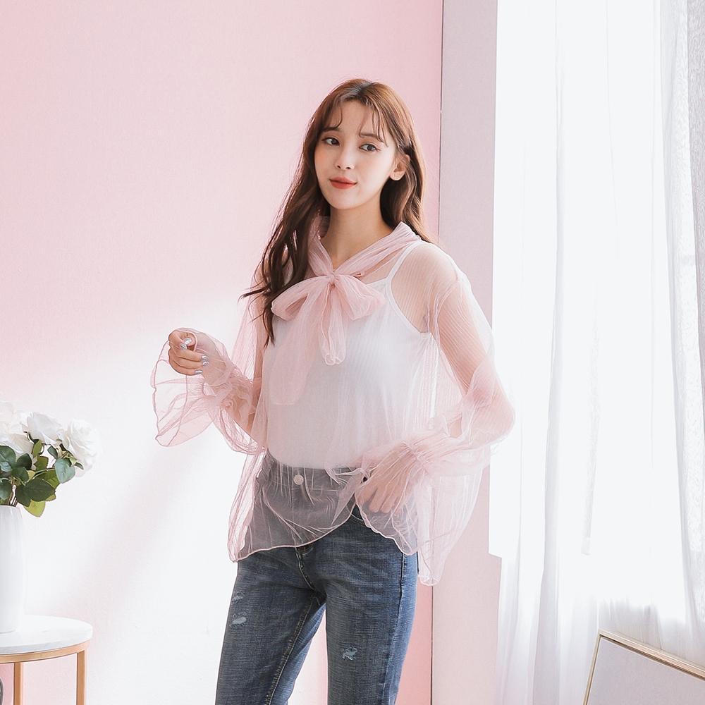 SUPER COLOR 浪漫柔美透視繫帶網紗兩件式上衣(粉紅色)