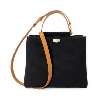 【IBAOBAO愛包包】ADOLE-ADay皮革斜背包/黑帆布包+棕色提把