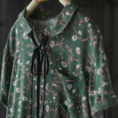 短袖碎花襯衫裙中長版娃娃領印花洋裝-設計所在
