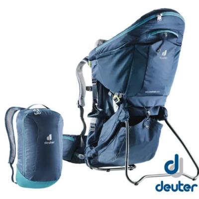 Deuter 最新 Kid Comfort Pro 12+10L 超輕網架式嬰兒背架背包(含遮陽棚)_深藍