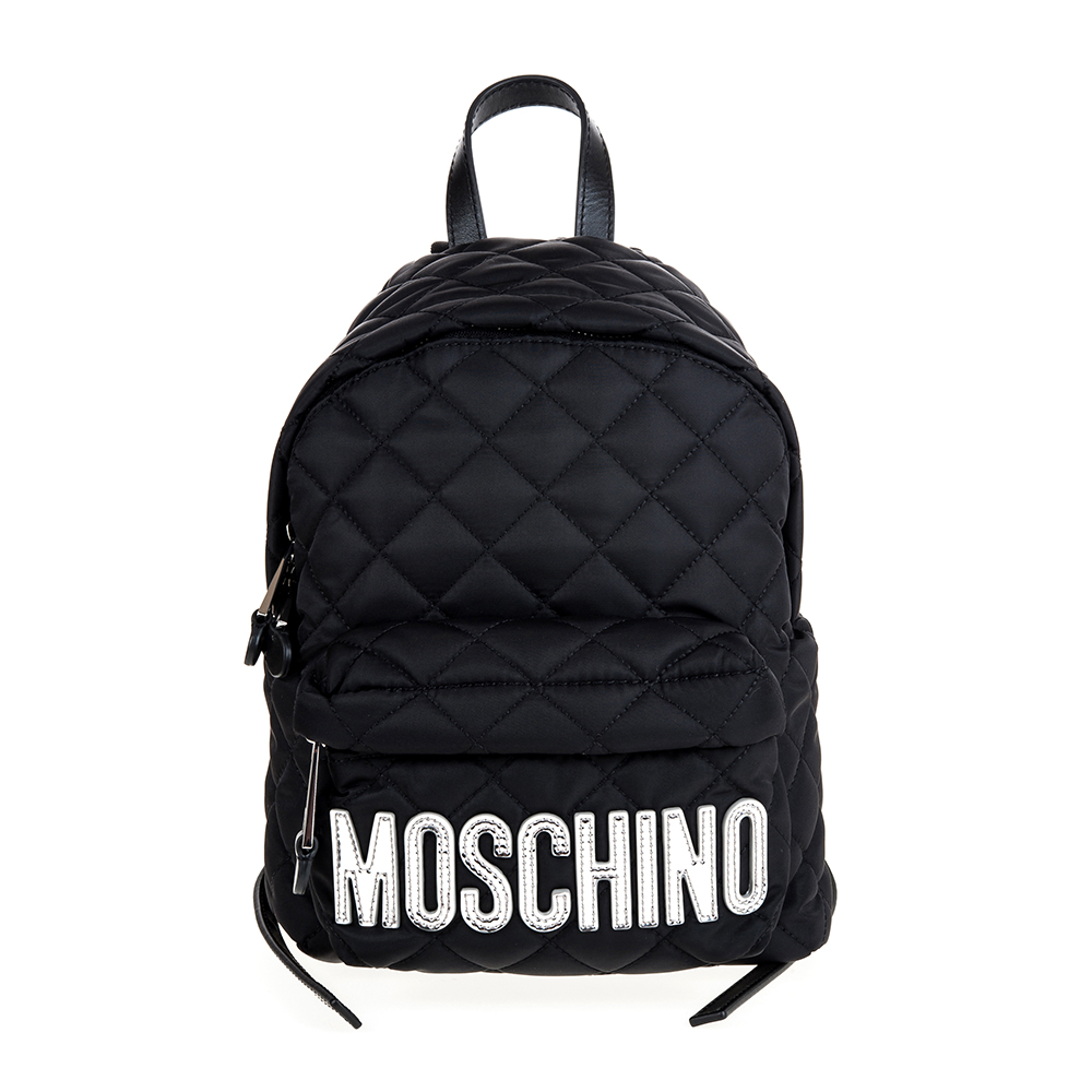MOSCHINO 菱格紋縫線銀字LOGO尼龍斜背/後背包 (黑色/小款)