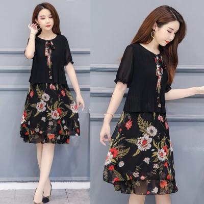 【韓國K.W.】恣意優雅嬌麗氣質印花洋裝-3色