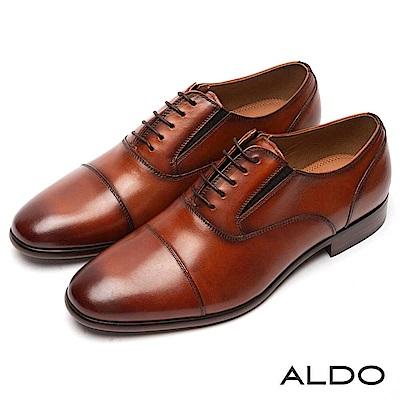 ALDO 原色真皮鞋面彈性綁帶式尖頭粗跟皮鞋~率性焦糖
