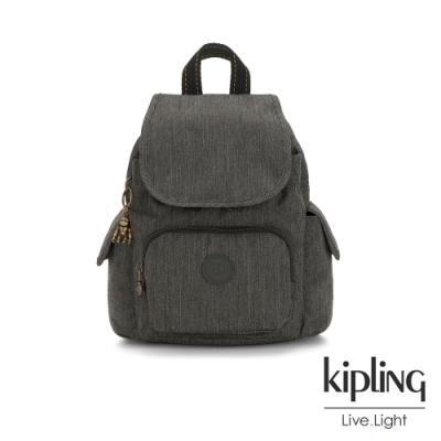 Kipling 復古質感丹寧黑拉鍊掀蓋後背包-CITY PACK MINI