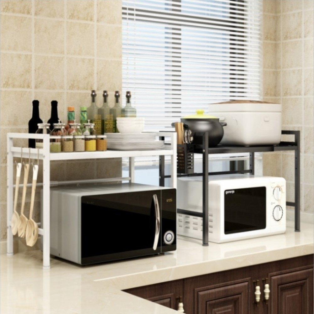 AOTTO 可伸縮微波爐架 廚房收納架-單層(廚房置物架 收納架)