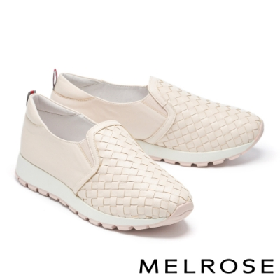 休閒鞋 MELROSE 率性潮感編織造型全真皮厚底休閒鞋-粉