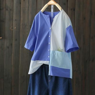 純棉幾何拼色純棉襯衫半袖開衫上衣-設計所在