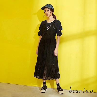 beartwo 兩件式長版蕾絲洋裝(黑色)