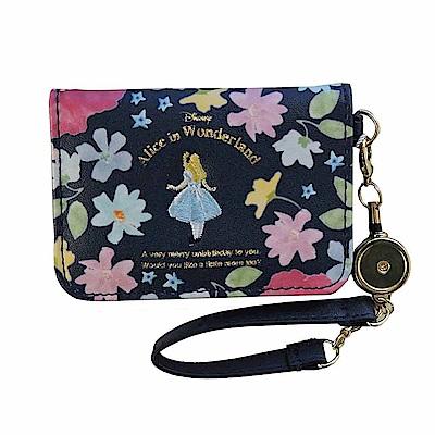 《Marimo》愛麗絲*COCOART PU皮革伸縮票卡夾附掛繩(花園秘徑)
