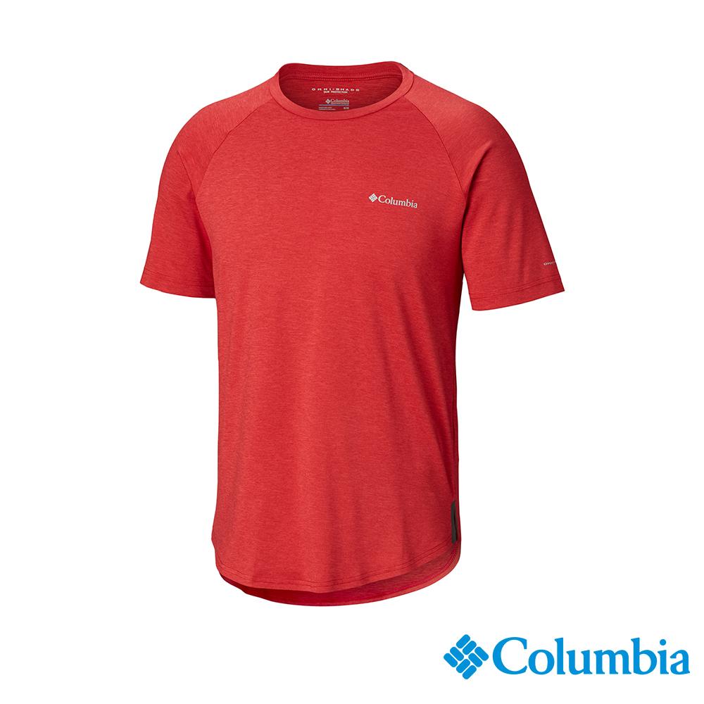 Columbia哥倫比亞 男款-UPF50快排短袖上衣-紅色 UAE06530RD