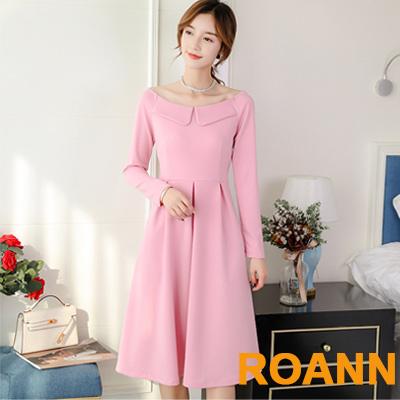 百搭款大圓領純色中長款洋裝 (共三色)-ROANN