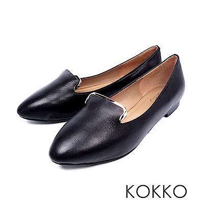 KOKKO -心之所向金屬邊手工柔軟平底鞋-光亮黑