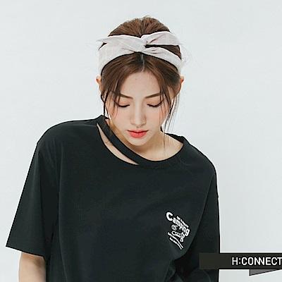 H:CONNECT 韓國品牌 -綁結格紋髮帶-粉