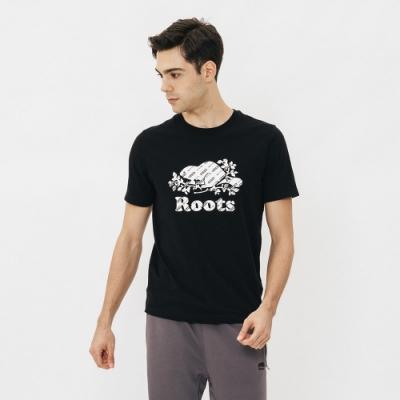 男裝Roots-滿版印花庫柏海狸短袖T恤-黑