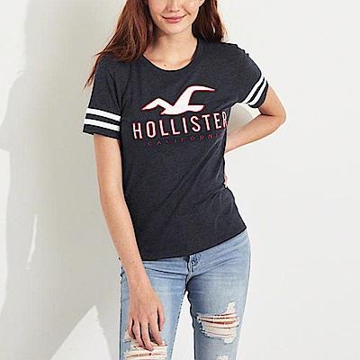 HCO Hollister 海鷗 經典刺繡大海鷗文字短袖T恤(女)-深藍色