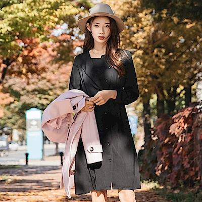 知性感前褶設計純色排釦洋裝-OB大尺碼