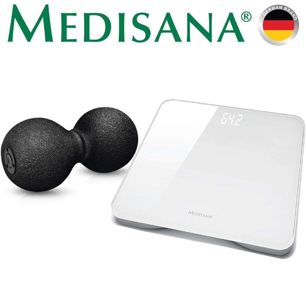 德國Medisana 筋膜舒緩花生球+玻璃體重計-白(超值組)