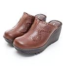 GEORGE 喬治皮鞋 素面編織契型穆勒鞋-咖啡色