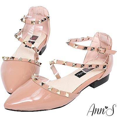 Ann'S網美指定款-繞帶鉚釘漆皮尖頭平底鞋-粉