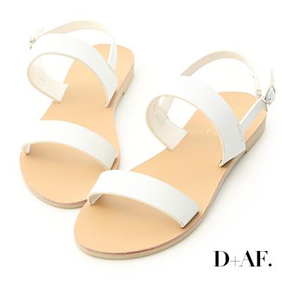 D+AF 簡約盛夏.百搭一字線條平底涼鞋*白