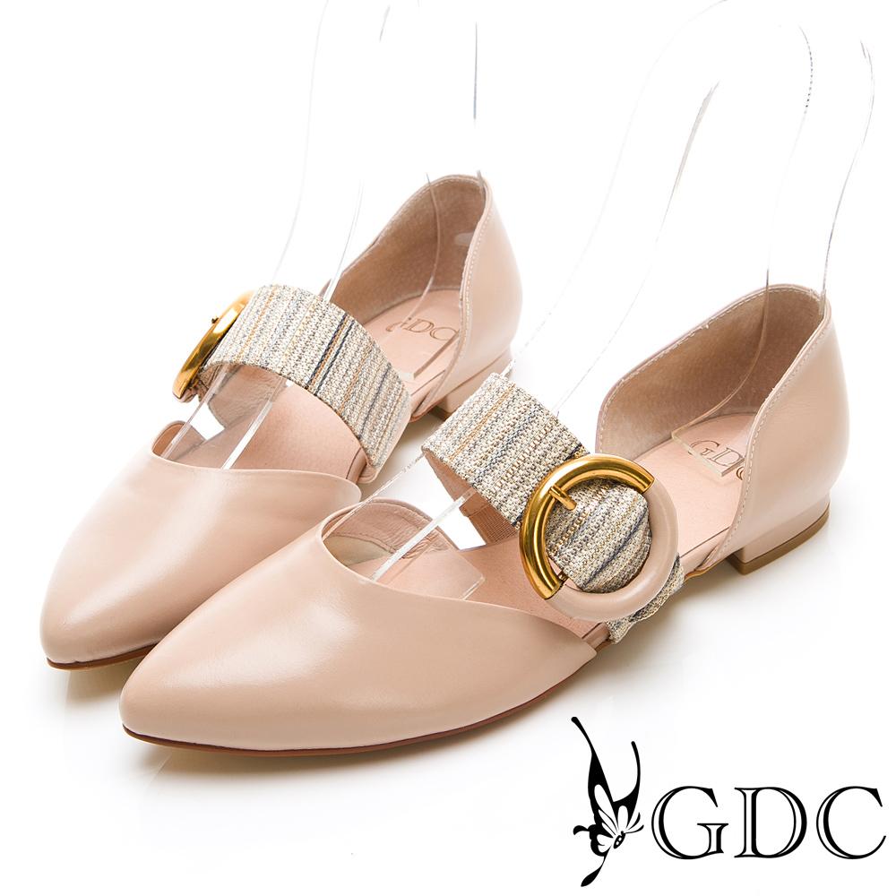 GDC-真皮拼接中空尖頭質感平底鞋-裸色