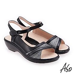 A.S.O 挺麗氣墊 布紋拼接全真皮抗菌奈米鞋墊氣墊涼鞋 黑
