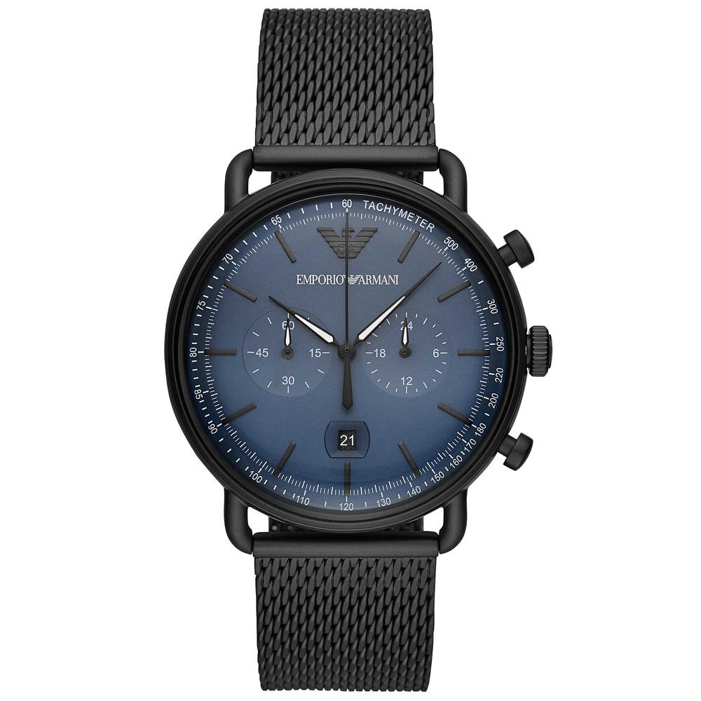 Emporio Armani 亞曼尼質感米蘭帶計時手錶(AR11201)-藍X黑/43mm