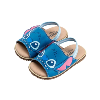 迪士尼童鞋 史迪奇 立體大臉鬆緊帶涼鞋-藍(柏睿鞋業)