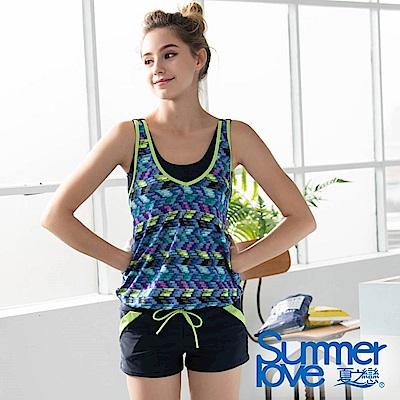 夏之戀SUMMERLOVE 大女連身褲二件式泳衣-加大碼