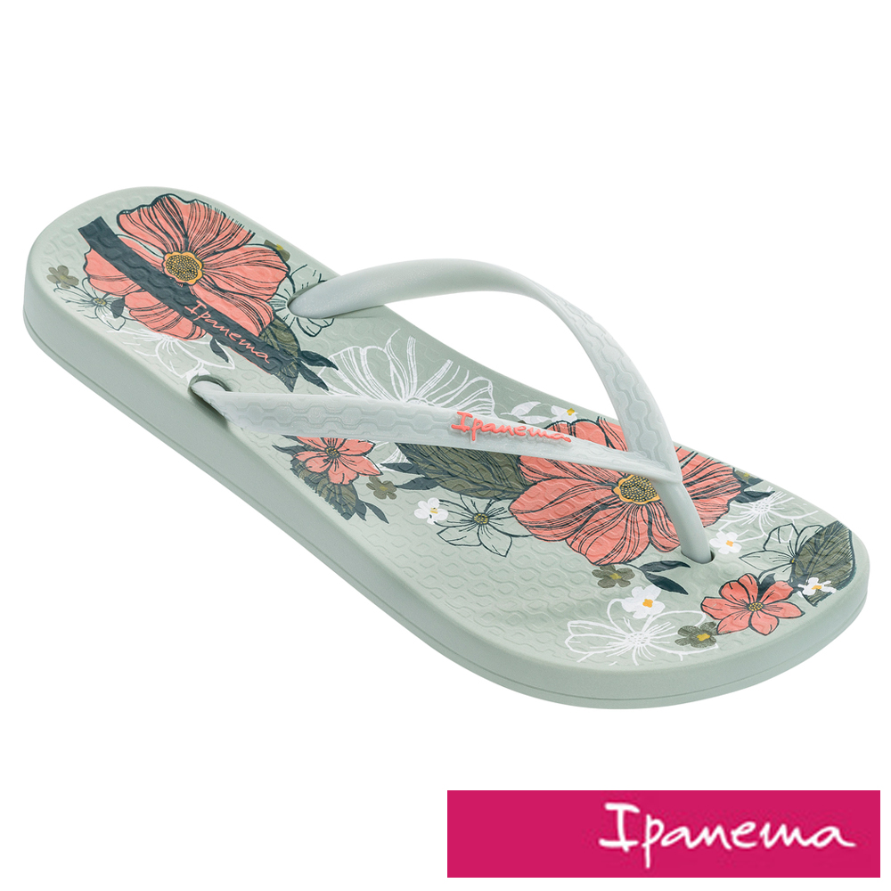 IPANEMA 秘密花園人字拖鞋-粉綠色/粉色印花