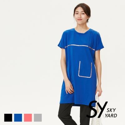 【SKY YARD 天空花園】休閒百搭簡約假口袋印花長版造型上衣-藍色