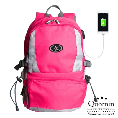DF Queenin日韓 - 繽紛炫彩羽量輕盈USB後背包-共8色