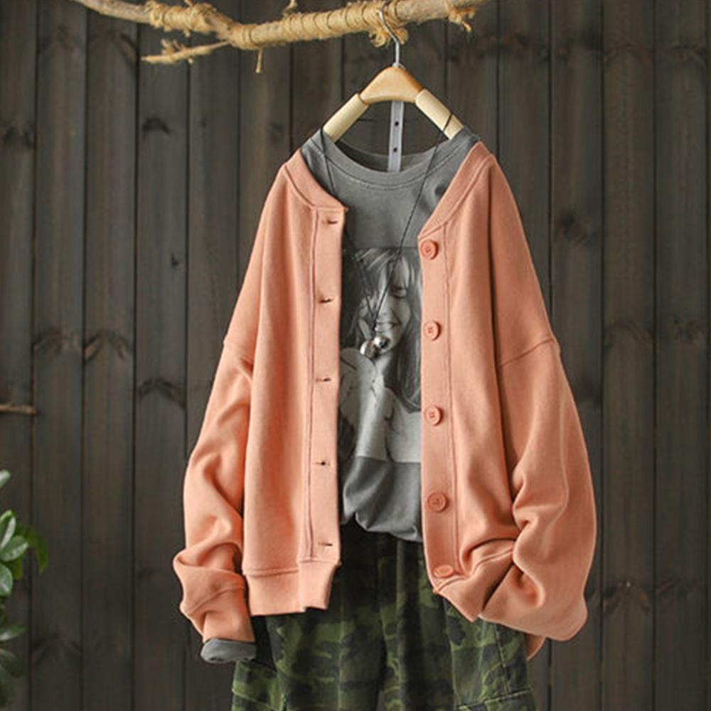 寬鬆單色外套衛衣棒球服-設計所在