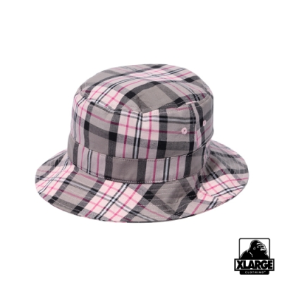 XLARGE CHECKED BUCKET HAT漁夫帽-粉格紋