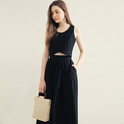 AIR SPACE 純色無袖兩件式長裙套裝(黑)