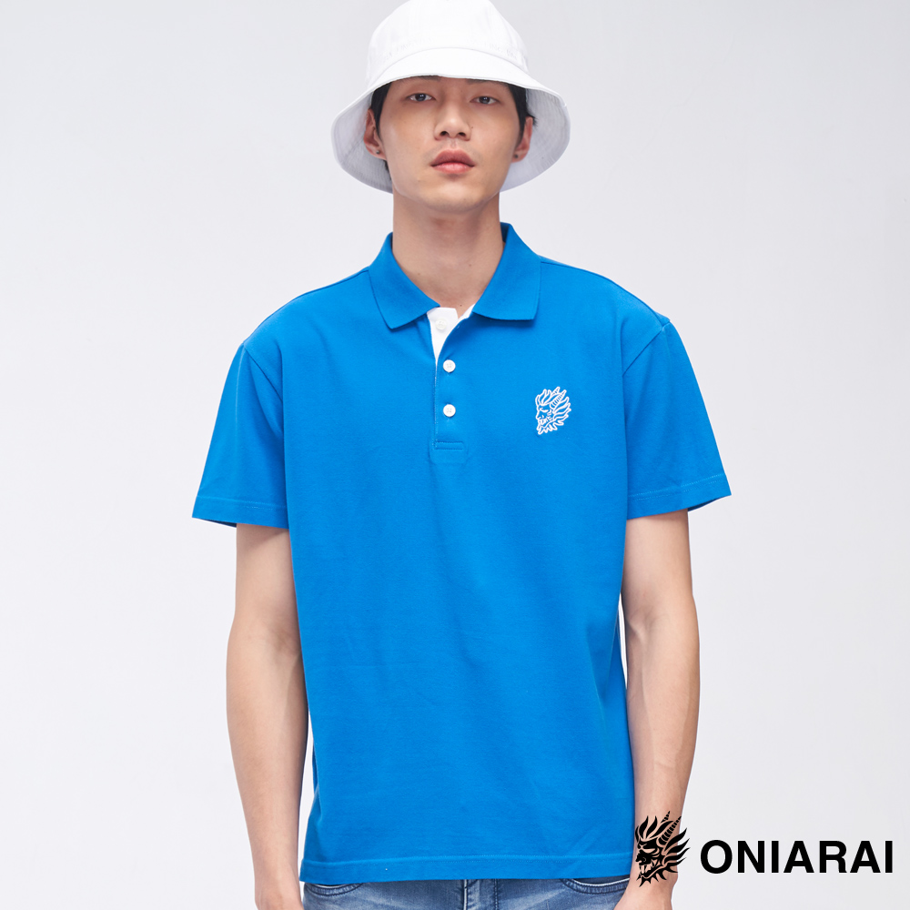 鬼洗 BLUE WAY 小鬼頭繡花門襟配色POLO衫(寶藍)