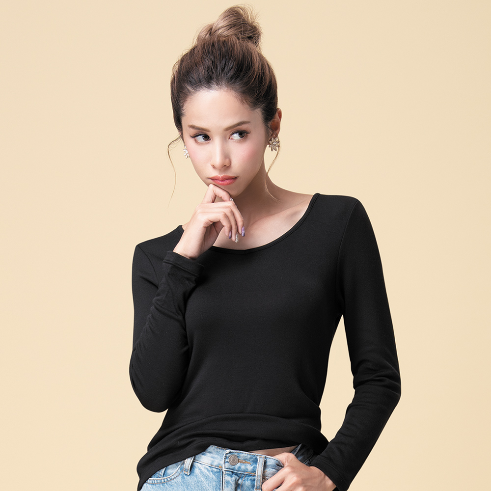 莎薇-刷毛保暖 M-LL V領長袖保暖衣(黑)