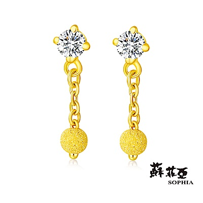 蘇菲亞SOPHIA - GOLD SHINE系列水晶經典圓黃金耳環