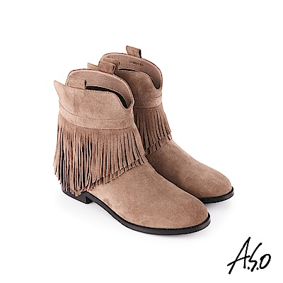A.S.O 魅力心機 絨面牛皮短靴 灰