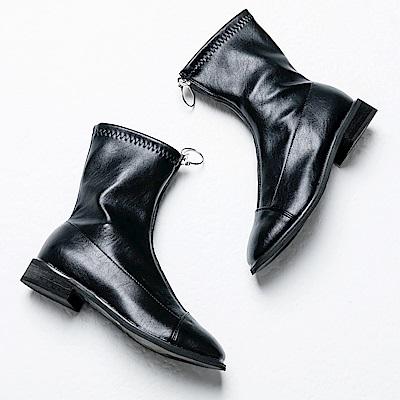 River&Moon短靴-韓版前拉鍊拼接方頭短靴 黑