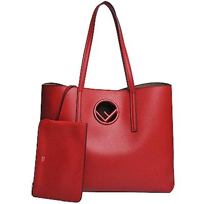 FENDI F LOGO鏤空標誌小牛皮附萬用包托特/購物包(紅色)