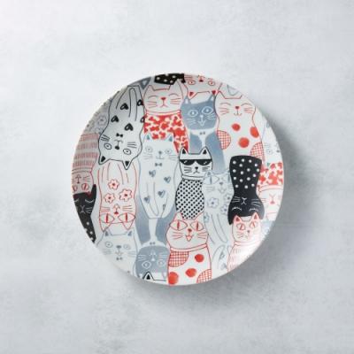 有種創意 日本美濃燒-酷花貓餐盤 - 紅