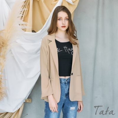素色雙口袋雪紡西裝外套 共三色 TATA-F