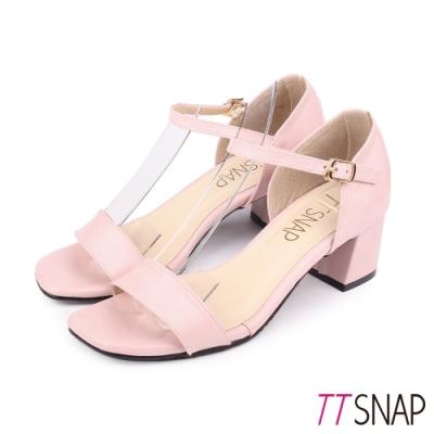 TTSNAP涼鞋-簡約顯瘦瑪莉珍中跟涼鞋 粉